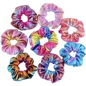 8 Piezas De La Mujer Scrunchies, 8 Colores Sirena Scrunchy ...