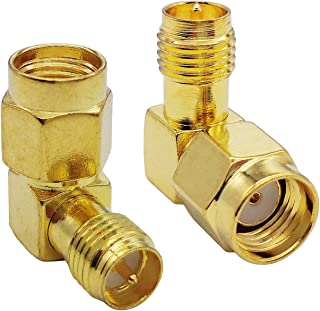 Tenmory RP SMA Male to Female Right Angle RP-SMA 90 Degree RF Coaxial Connector Coax Adapter (2 Pcs)