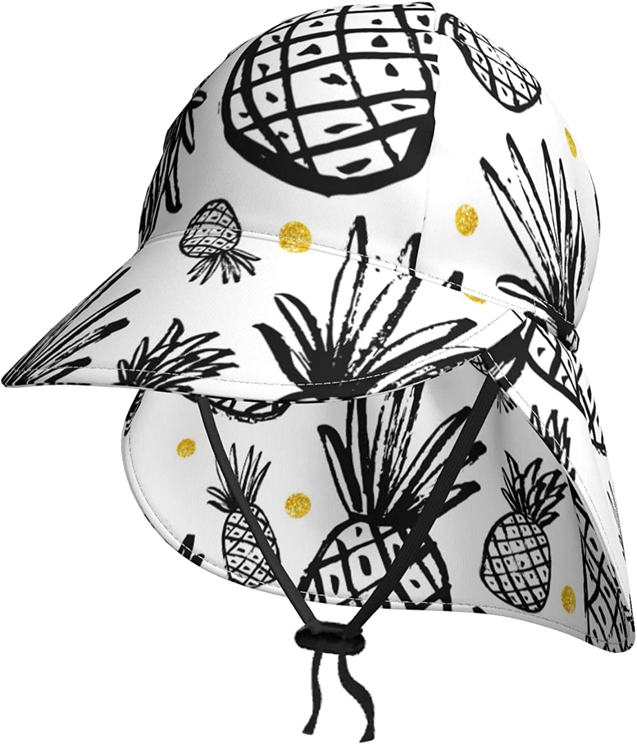 Simple Draw Fruit Pineapple Kids Sun Neck Summer Hat with Philadelphia Mall Flap S Easy-to-use