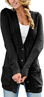 Women Open Front Long Sleeve Chunky Knit Cardigan Sweaters Loose Outwear Coat S-XXL