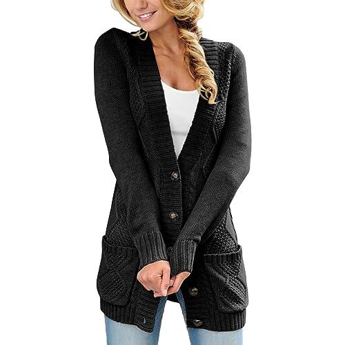 1217cb3957 Sidefeel Women Open Front Pocket Cardigan Sweater Button Down Knit Sweater  Coat