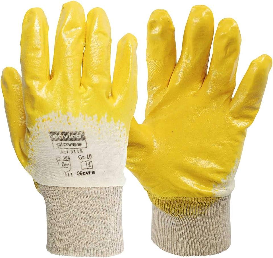 enviro GLOVE - 12 Paar gelber Nitril-Handschuh - sehr flexible Arbeitshandschuhe - Öl- und Fett abweisend - Schutzhandschuhe nach Norm 388-3111 in 4 Größen erhältlich