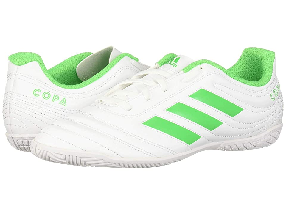 adidas Kids Copa 19.4 IN Soccer (Little Kid/Big Kid) (White/Solar Lime) Kids Shoes