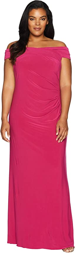 Plus Size Off the Shoulder Stretch Jersey Long Gown