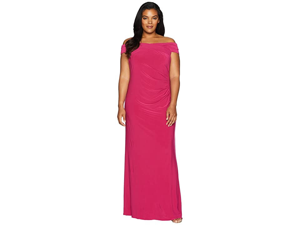 Adrianna Papell Plus Size Off the Shoulder Stretch Jersey Long Gown (Bright Syrah) Women