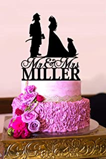 Personalized Wedding Cake Topper Firefighter and Nurse Wedding Silhouette Customized Last Name Mr and Mrs Dog Cake Topper A2155
