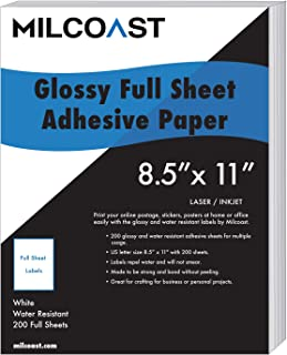 Milcoast Full Sheet 8.5 x 11 Shipping Sticker Paper Adhesive Labels Glossy Water Resistant for Laser or Inkjet Printer (200 Full Sheet)