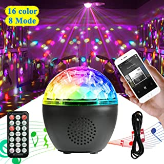 UPGRADED Party Lights Sound Activated Disco Ball with Remote Control 16 Colors Disco Lights DJ Lights Wireless Phone Connection LED Stage Light for Kids Bedroom Wedding Party Birthday, 8 Dimming Modes