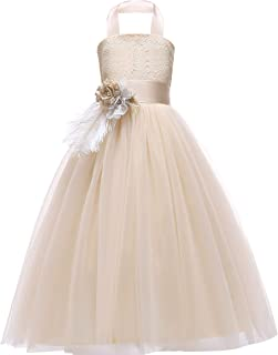 Glamulice Lace Flower Girl Dress Crossed Back Bow Feather Sash Fancy Princess Dresses Party Pageant Gown Age 3-16Y