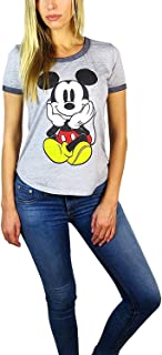 Disney Womens Mickey Mouse Burnout Ringer Tee Chillin Heather Grey