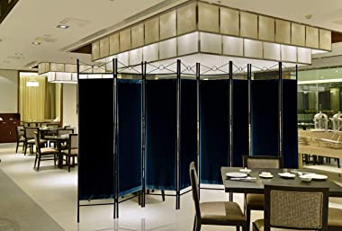 Legacy Decor 8 Panel Metal and Woven Fabric Room Divider with Two Way Hinges Black Color