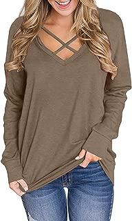 Women's V Neck Criss Cross Long Sleeve T Shirt Tunics Tops Sweatshirt
