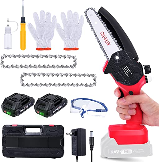Mini Chainsaw Cordless 6-Inch Power Chainsaw with 26V 2 Batteries, etship Electric...