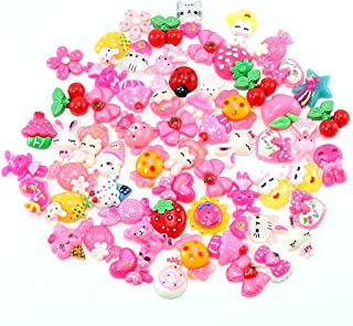 PUEEN 50pc Assorted Bows, Cats, Strawberry, Lady Bug, Ice Cream, Cupcake, Teddy Bear, Floral, Hearts, Bunny, Candy & More Flat Back Resin Cabochons Art & Cell Phone Decorations-BH000739