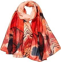 Thenxin Chiffon Scarf for Women Leaves Printing Lightweight Soft Wrap Shawl