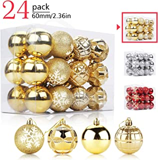 Aitsite 24 Pack Christmas Tree Ornaments Set 2.36 inches Mini Shatterproof Holiday Ornaments Balls for Christmas Decorations (Personalized Gold)