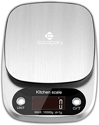 Digital Kitchen Scale by IDAODAN, Multifunction Food Scale Large Weight Max 22lb 10kg, with LCD Display, Auto Shut-Off and Tare Function for Baking Kitchen Cooking