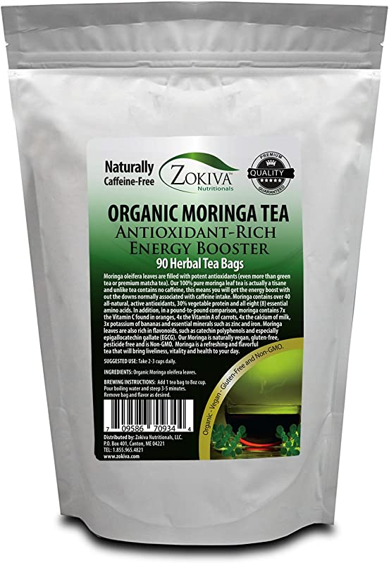 Moringa Tea Organic 90 Bags 100 Pure All Natural Antioxidant Rich Energy Booster