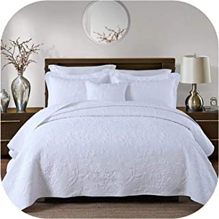 Little-Goldfish Quality Washed Cotton Quilt Set 3Pc Embroidery Quilts Bed Cover Quilted Bedspread Coverlet Pillowcase King Size White,King,White