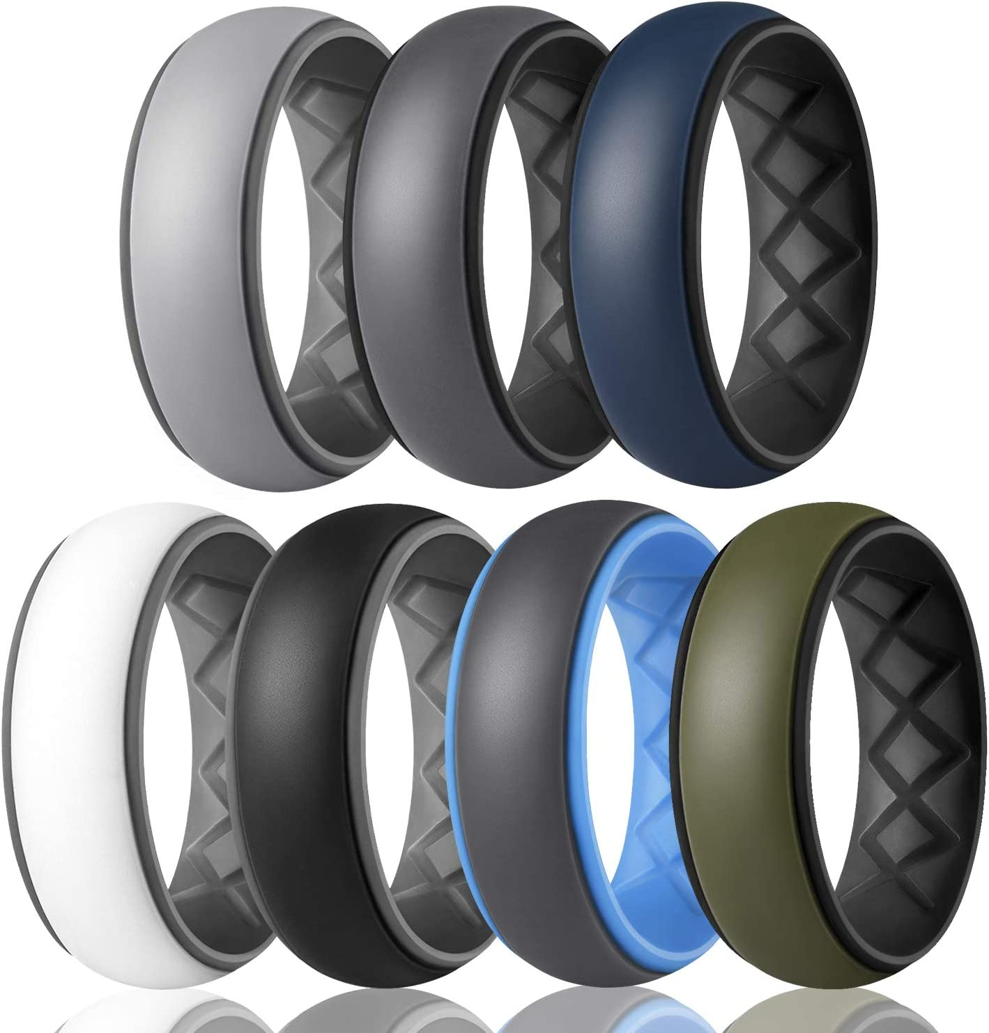 Egnaro Limited time for free shipping Silicone Rings Mens with 7 Dual Colors Ranking TOP2 4