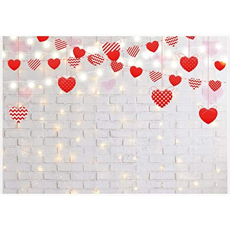 GoEoo Vinyl 8x6.5ft Romantic Valentines Day Photography Background Cute Toy Rabbit White Candles Photo Frames Cup Flowers Hearts Decoration White Wooden Wall Backdrops Child Adult Girl Shoot
