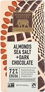 Endangered Species Natural Chocolate Bar - Dark Chocolate - 72 Percent Cocoa - Sea Salt and Almonds - 3 oz Bars - Case of ...