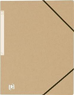 OXFORD Chemise 3 Rabats Touareg A4 avec Elastique Couverture Carte Recyclee Beige Naturel - Lot de 20