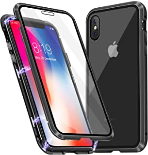 Misscase iPhone Xs Case, iPhone X Case, Ultra-Thin Magnetic Adsorption Case Front and Back Tempered Glass Full Screen Coverage One-Piece Design Flip Cover for Apple iPhone X/Xs (Clear Black)