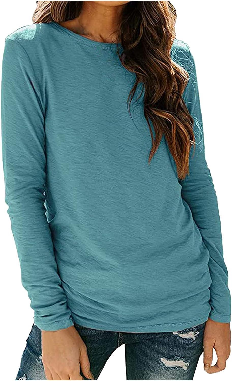 4 years warranty PLENTOP Womens T Shirts Long Sleeve Max 68% OFF Tee Neck Crew Basic