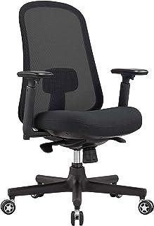 Fulol メッシュオフィスチェアオフィスデスクチェア通気性 人間工学椅子 約125度 パソコンチェア 事務椅子 強化ナイロン樹脂ベース 静音PUキャスター(ブラック)