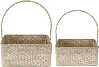 Yardwe 2pcs Seagrass Woven Basket With Handle Vintage Rectangle Storage Box Portable Wedding Girl Flower Basket For Cosmet...