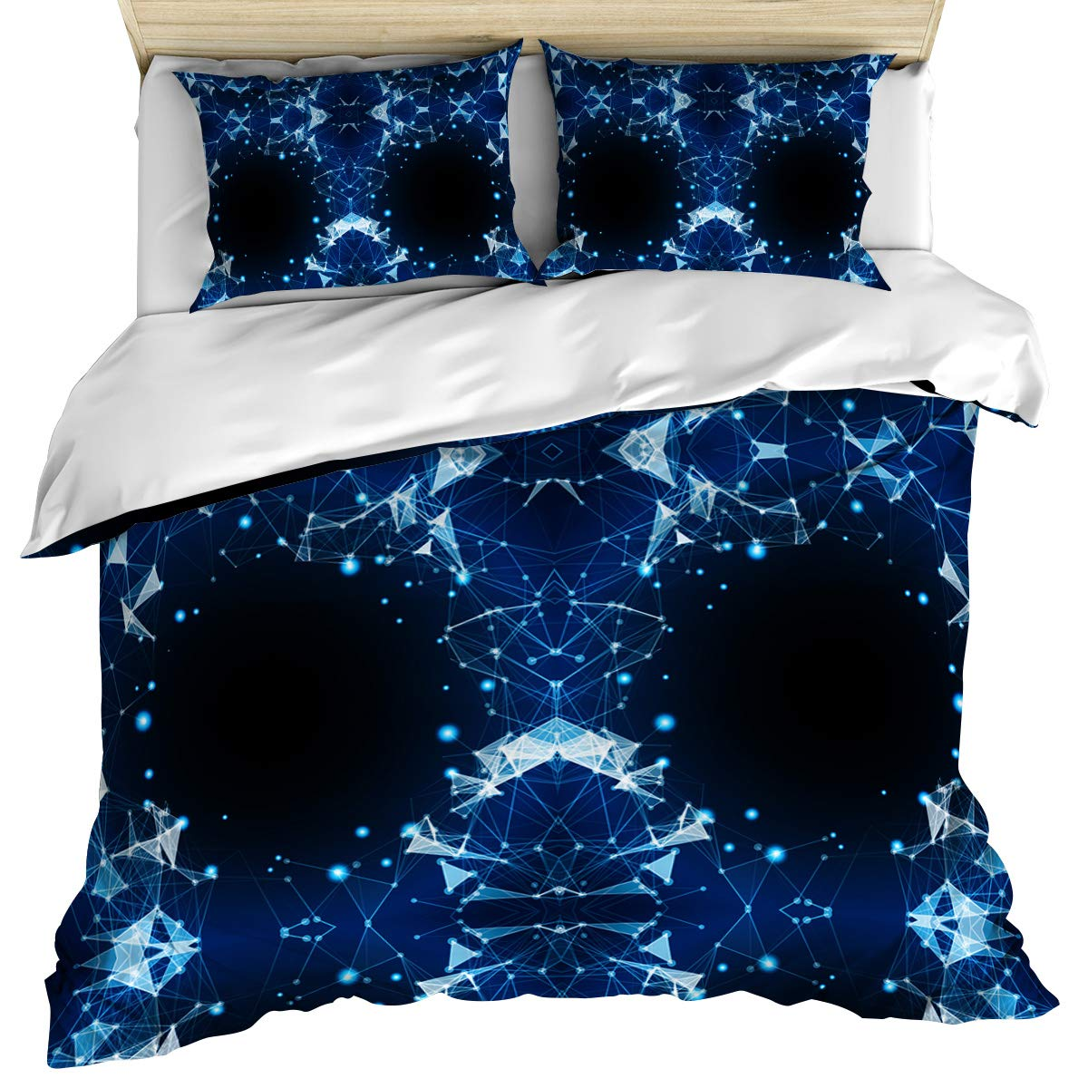 Luxury Microfiber 3 Piece Bedding Set Twin Size Geometric Monochrome Hipster Line with Polka Dot 3PCS Zippered Duvet Cover Comforter Cover Set with Quilt Cover Pillow Cases for Kids/Teens/Adults