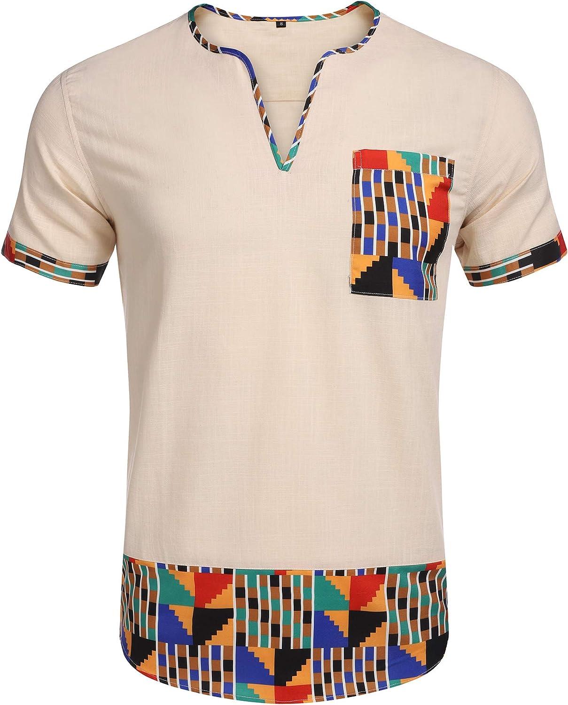 URRU Cheap mail order shopping Men's Line Short Sleeve Max 71% OFF Cotton Slim Casual Beach Fit Summer