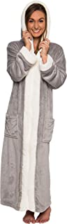 Sherpa Trim Hooded Robe w/Zipper - Women's Full Length Plush Fleece Long Zipper Housecoat
