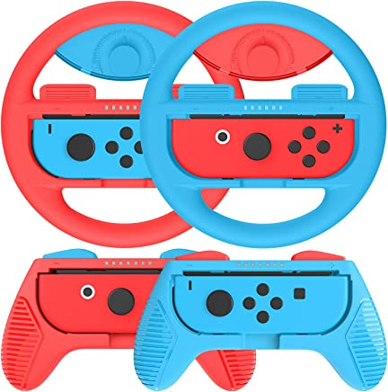 momen Grips Kit for Nintendo Switch Joy Con; Nintendo Switch Joy Con Grip, Anti-Slip Joy Con Wheel for Joy Con (4 Pack) Blue&Red