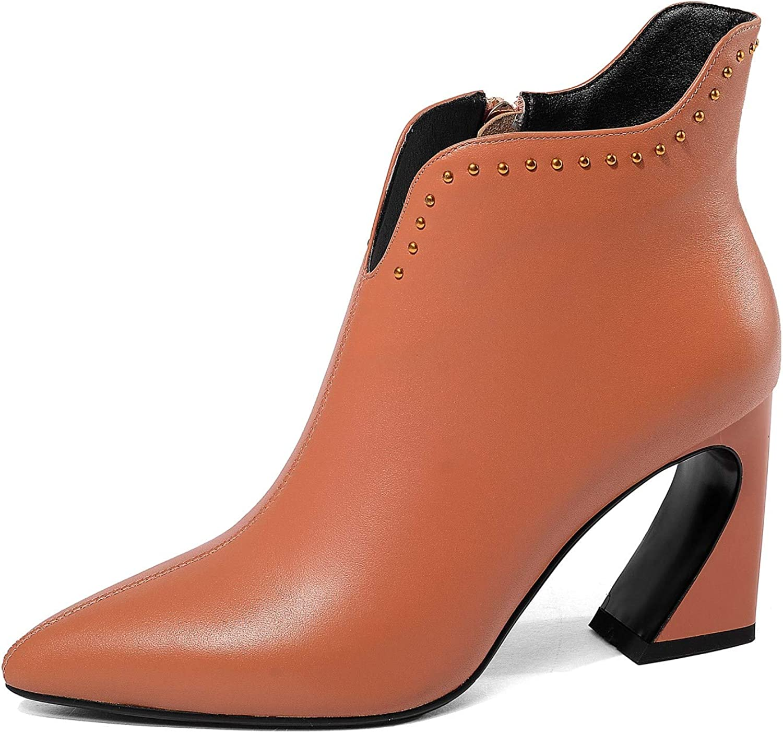 Nine Seven Women's Genuine Leather Pointed Toe High Heel V Cut Booties - Handmade Exquisite Heel Dress Boots
