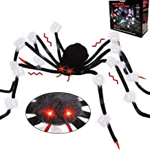 AMENON 50'' Halloween Scary Sound Spider Decorations Giant Spider Toys with Spooky LED Red Eyes Halloween Props Decoration...