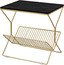 Living Room Furniture Metal Bedroom Bedside Table - Rectangle Marble Small Side Table Coffee Table - Gold Metal Storage Fr...