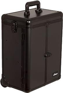 Sunrise Del Cristo Heavy Duty Rolling Makeup Case Professional Nail Travel Organizer Box, Black Matte, 16 Pound