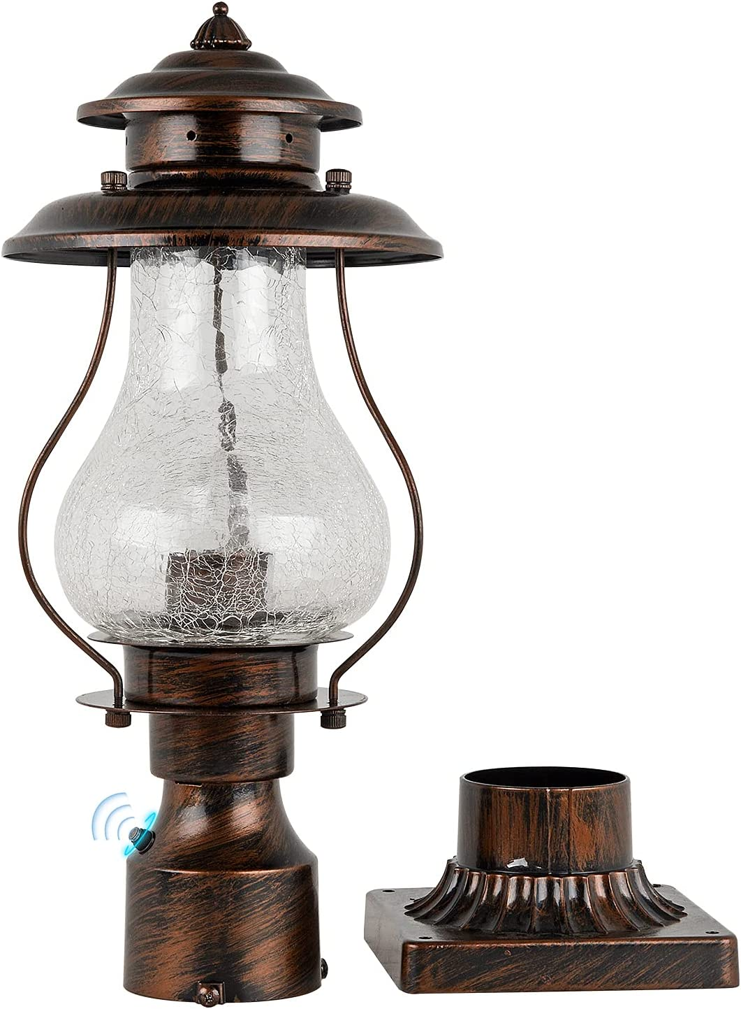 Dusk to Dawn Outdoor Post Lantern Photocell Sensor Rustic Pole Mount Lights with Pier Mount Adapter, Oil Rubbed Brown with Crackle Glass Waterproof Pillar Lights for Patio, Garden, Porch and Backyard