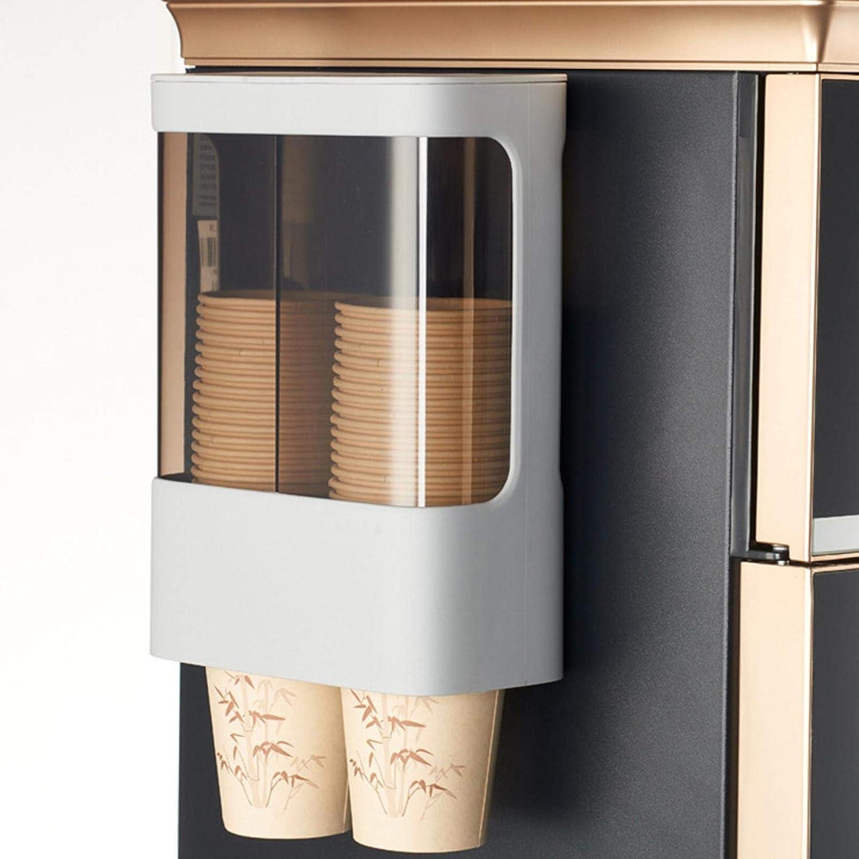 Dispensador de vasos desechables, portavasos de pared para refrigerador de agua, diseño de doble tubo con capacidad para 80 vasos de papel con adhesivo