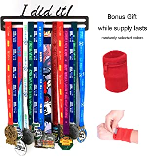 Sports Medal Display Hanger – Runners 5K Race Gymnastics Swimming Dance Karate Martial Arts – Medal Holder Fits 24+ Made of Metal and Wall Mounted.