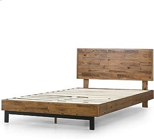Zinus Tricia Platform Bed / Mattress Foundation / Box Spring Replacement / Brown, Queen