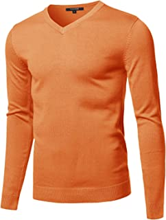 Youstar Men's Casual Solid Soft Knitted Long Sleeve V-Neck Sweater Top