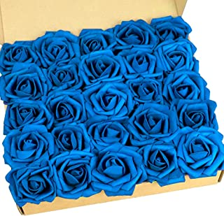 N&T NIETING Artificial Flowers Roses, 25pcs Real Touch Artificial Foam Rose with Stem for Cake Decoration DIY, Wedding Bridal Bouquets Centerpieces, Party Decoration, Home Display (Dark Blue)