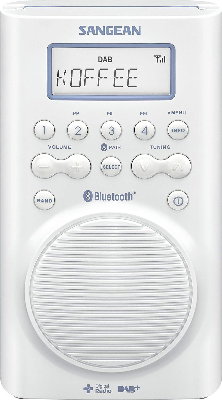Sangean H 20D BT Wasserdichtes Duschradio Bluetooth, DAB+, UKW RDS,  wasserdicht nach JIS20 weiß