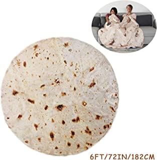 RAINBEAN Burrito Tortilla Blanket, Perfectly Round Novelty Blanket to be a Giant Human Burrito, Tortilla Throw Food Creation Wrap Blanket, Soft & Plush Giant Towel for Adults and Kids-6' Diameter