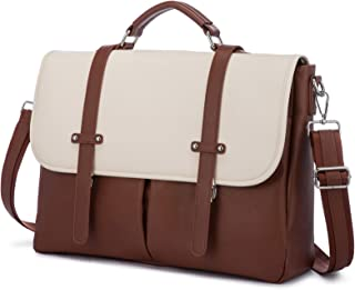 Laptop Bag for Women 15.6 Inch Leather Computer Bag Waterproof Briefcase Messenger Bag for Work College, Brown-Beige