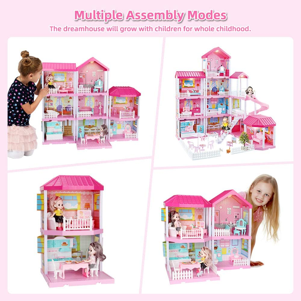 Kids/Boy//&/Girl DIY Pretend Play Building Playset Toys with Asseccories and Furniture Princess House for Toddlers DollHouse with Lights Dream House Doll House Kit Pets and Dolls 11 Rooms Slide