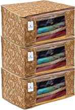 Kuber Industries Metalic Flower 3 Piece Non Woven Saree Cover, Large, Beige